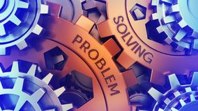 solving problem concept. Steel gear weel mechanism Close-up 3d render. words imprinted on metal surface stock illustration