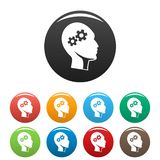Solving problem icons set color. Solving problem icons set 9 color vector isolated on white for any design royalty free illustration