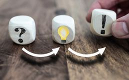 Solving problems concept with question mark, light bulb symbolizing an idea and exclamation point on wooden blocks stock photos