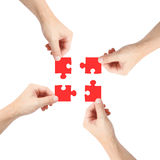 Solving a puzzle Royalty Free Stock Photos