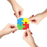 Solving a puzzle Stock Photos