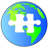 Solving the puzzle of earth Stock Image