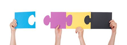 Solving a Puzzle Royalty Free Stock Photography