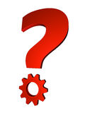 Solving Question. Shiny red metal question mark with gear; great for question and solution concepts Royalty Free Stock Images