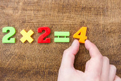 Solving simple mathematical formula Royalty Free Stock Photos