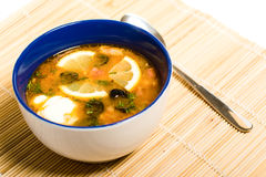 Solyanka. Russian and ukrainian cuisine - solyanka is a thick, spicy and sour soup royalty free stock photo