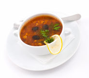 Solyanka, closeup. Solyanka - a spicy soup of vegetables and meat Stock Image