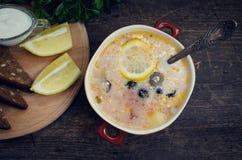 Solyanka - minestra tradizionale russa della carne Fotografie Stock Libere da Diritti