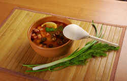 Solyanka on the plate. Solyanka, Russian soup with beef,sausage,chicken and lemon, olives Royalty Free Stock Photo