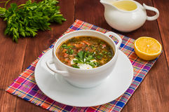 Solyanka, Russian dishes, soup on a steep meat broth with hot spices. Wooden background. Close-up Stock Image
