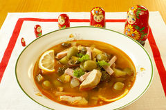 Solyanka - Russian soup. Solyanka is a traditional, spicy and sour soup in the Russian and Ukrainian cuisine Royalty Free Stock Photo