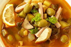 Solyanka - Russian soup. Solyanka is a traditional, spicy and sour soup in the Russian and Ukrainian cuisine Stock Images