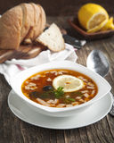Solyanka, Russian soup with meat, sausage, olives and pickles Royalty Free Stock Images