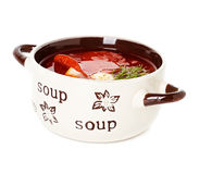 Solyanka, Russian soup and sour cream. Close-up isolated on white background Royalty Free Stock Photo