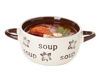 Solyanka, Russian soup and sour cream Stock Images