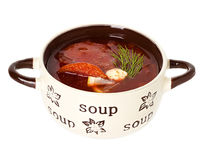 Solyanka, Russian soup and sour cream Royalty Free Stock Image