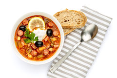 Solyanka - Russian traditional meat soup. On white background Stock Image