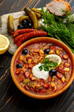 Solyanka - Russian traditional meat soup Stock Images