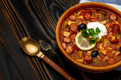 Solyanka - Russian traditional meat soup Stock Photos
