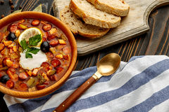 Solyanka - Russian traditional meat soup Royalty Free Stock Photos