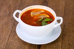 Solyanka soup with lemon. Serbed parsley royalty free stock image