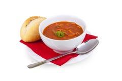 Solyanka Soup - soljanka Suppe. Soljanka soup cup food parsley bread stew stock photography