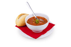 Solyanka Soup - soljanka Suppe. Soljanka soup cup food soup parsley bread stew Royalty Free Stock Images
