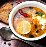 Solyanka traditional Russian soup. Food of national Ukrainian cuisine.Soup with meat and vegetables Stock Images