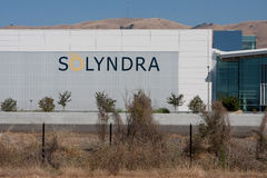 Solyndra - 0780. FREMONT, CALIFORNIA - SEPTEMBER 19: One of the Solyndra buildings in Fremont viewed from across Interstate 880 after suspending operations stock photography