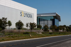 Solyndra - 0799. FREMONT, CALIFORNIA - SEPTEMBER 19:  One of the Solyndra buildings in Fremont viewed from across Interstate 880 after suspending operations Royalty Free Stock Photography