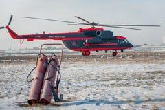 Som ändras för arktisk helikopter för trasport Mi-8 Royaltyfri Fotografi