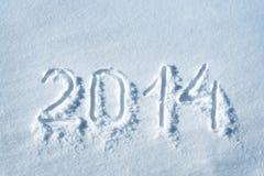 2014 som är skriftlig i snö Arkivbilder