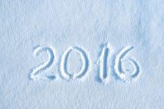 2016 som är skriftlig i snö Fotografering för Bildbyråer