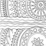 5 som är svart, kantcanen består varje använd vektor för ramprydnadcirklar separat som white tecknad handmodell Royaltyfri Bild