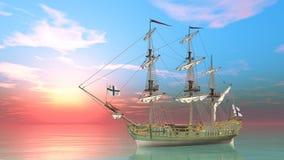 som bakgrund är blå, kan fartygfartyg klubba mörka etc Arkivbild