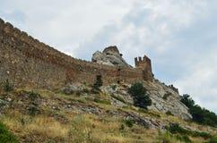 som bakgrund är kan använda väggen för fästningen bilden Arkivfoton