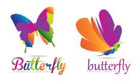 som bakgrund är svart, kan fjärilen funktionsläget för logotypen för logoen för element för cmykfärgdesignen ställa in använt Royaltyfria Foton