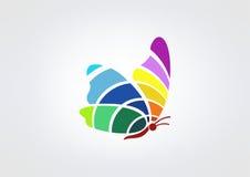 som bakgrund är svart, kan fjärilen funktionsläget för logotypen för logoen för element för cmykfärgdesignen ställa in använt Arkivfoto