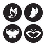 som bakgrund är svart, kan fjärilen funktionsläget för logotypen för logoen för element för cmykfärgdesignen ställa in använt vektor illustrationer