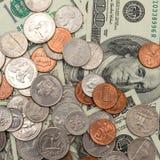 som bakgrund coins olikt s enkel u S dollar, mynt och sedlar av Förentaen staterna Royaltyfri Foto