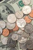 som bakgrund coins olikt s enkel u S dollar, mynt och sedlar av Förentaen staterna Royaltyfri Fotografi