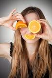 som bakgrund eyes grått orange använda för flicka Arkivfoton