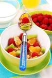 som bantar ny fruktmysli för mat Arkivbild