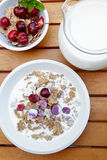 som bantar ny fruktmysli för mat royaltyfri bild