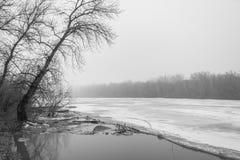 Is som bryter på sjön arkivfoto