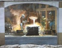 ` Som bygger stads`en, en stad av skapelsen för Philadelphia den vägg- konstprogram av Michael Webb Arkivbild