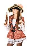 som charmigt, piratkopierar klädda trycksprutor kvinnan Fotografering för Bildbyråer