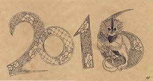 2016 som dekoreras med apan Arkivfoton