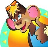 som Den glade apashowen tummar upp De godkänner vacationon Royaltyfri Fotografi