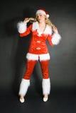 som den härliga blonda klädda flickan sexiga santa Royaltyfria Bilder